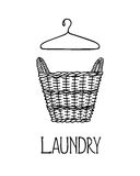 Laundry basket illustration. Vector illustration of hand drawn wicker basket with laundry. Ink drawing, graphic style. Beautiful household design elements stock illustration