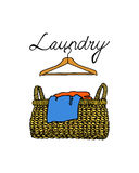 Laundry basket illustration. Vector illustration of hand drawn wicker basket with laundry. Ink drawing, graphic style. Beautiful household design elements vector illustration