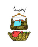 Laundry basket illustration. Vector illustration of hand drawn wicker basket with laundry. Ink drawing, graphic style. Beautiful household design elements royalty free illustration