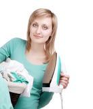 Laundry basket and iron Royalty Free Stock Image