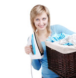Laundry basket and iron Royalty Free Stock Photography