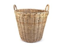 Laundry basket made of rattan isolated on white background. Cloth basket isolated. Background stock photography