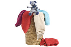 Laundry Basket and towels Stock Photo