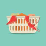 Laundry basket with underwear and dirty clothes. Laundry basket with underwear and dirty clothes ,Flat style icon vector illustration royalty free illustration
