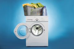 Laundry Basket On Washing Machine Stock Photography