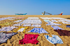 Laundry on the beach stock photo