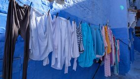 Laundry in the blue town of Chefchaouen, Morocco Royalty Free Stock Photos