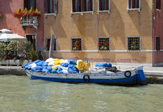 Laundry Boat on the Grand canal Stock Image