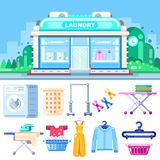 Laundry building, flat illustration. Laundry, dry cleaning, clothes washing and ironing service. vector illustration