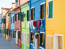 Laundry on Burano Homes Royalty Free Stock Photography