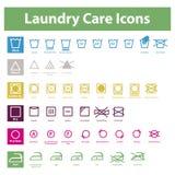 Laundry Care Icons. Icon set of laundry symbols of ironing, washing,drying and bleaching Royalty Free Stock Photos