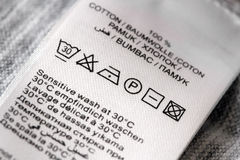 Laundry care label Stock Image