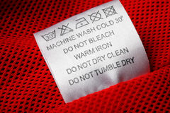 Laundry care label on white background Royalty Free Stock Photo