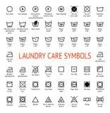 Laundry Care symbols. Cleaning icons set. Washing instruction pictograms stock illustration