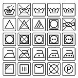 Laundry care symbols. Textile care icons. Stock Photos