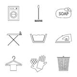 Laundry and cleaning icons Royalty Free Stock Image