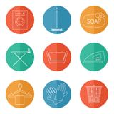Laundry and cleaning icons Stock Photos