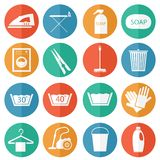 Laundry and cleaning icons Stock Images