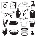 Laundry and Cleaning Icons Stock Photo