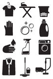 Laundry and Cleaning Service Icon Set Royalty Free Stock Photo