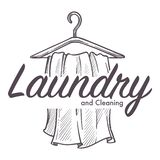 Laundry and cleaning service logotype monochrome sketch outline. Vector washing dirty clothes and hanging clean clothing on hangers public place to have your vector illustration