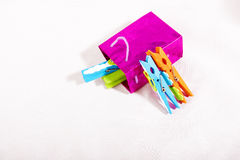 Laundry clips Royalty Free Stock Image