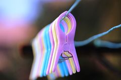 Laundry clips Stock Images