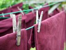 Laundry: clothes pin detail stock images