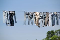 Laundry on clothesline. Laundry  clothesline with  trees in background Stock Photos