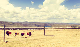 Laundry on clothesline in China Royalty Free Stock Photos