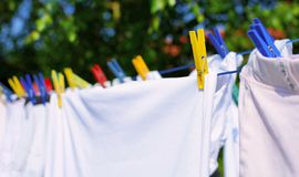 Laundry on the clothesline Stock Photos