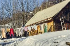 Laundry on clothesline Royalty Free Stock Images