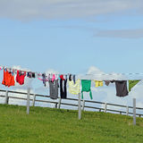 Laundry on a clothesline Stock Image