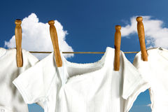 Laundry in the clouds Royalty Free Stock Photos