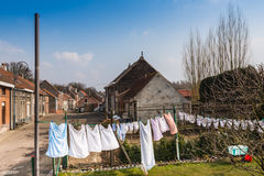 Laundry day in a Belgian village Stock Images