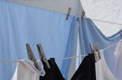 Laundry day, clothes on the line royalty free stock photo
