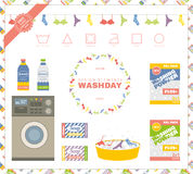 Laundry day. Set includes design elements, washing icons, two se Royalty Free Stock Photography