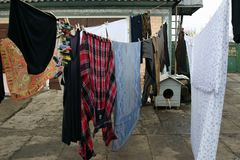 Laundry day in the ukrainian village royalty free stock image