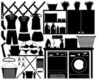 Laundry Design Set Vector. A big set of laundry equipment for home interior Stock Photography
