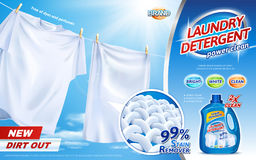 Laundry detergent ads. Bright white clothes hanging out to dry with product package design in 3d illustration, closeup look at fiber structure Royalty Free Stock Photo