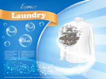 Laundry detergent advertising poster. Dirty white shirt with close-up of fiber structure and soap bubbles on blue background, vector realistic banner . Mockup Royalty Free Stock Photos