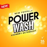 Laundry detergent background design. Clean power powder soap laundry, wash product package design.  royalty free illustration