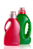Laundry detergent bottle with fabric softener isolated on white background.  Royalty Free Stock Photos