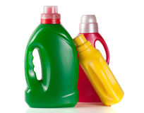 Laundry detergent bottle with fabric softener isolated on white background.  Royalty Free Stock Images