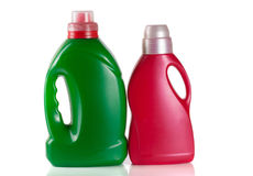 Laundry detergent bottle with fabric softener isolated on white. Background Stock Photography