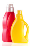 Laundry detergent bottle with fabric softener isolated on white background.  Royalty Free Stock Image