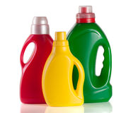 Laundry detergent bottle with fabric softener  on white background.  Royalty Free Stock Images