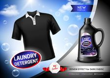 Laundry Detergent Dark Fabric Poster. Laundry detergent for dark fabric advertising poster with black t-shirt, soap bubbles realistic vector illustration Stock Photo