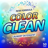 Laundry detergent package ads. Toilet or bathroom tub cleanser design. Washing machine laundry detergent packaging stock illustration