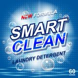Laundry detergent package ads. Toilet or bathroom tub cleanser design. Washing machine laundry detergent packaging vector illustration
